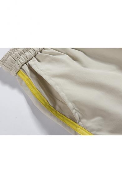 Summer Fashion Plain Mesh Patched Zipper Pocket Flap Pocket Side Drawstring Waist Casual Sport Shorts Cargo Shorts
