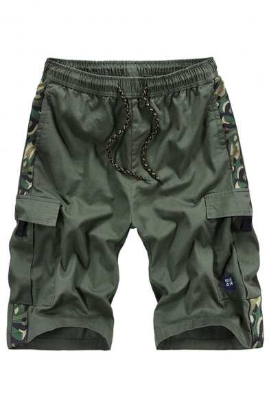 Summer New Fashion Camouflage Printed Side Flap Pocket Drawstring Waist Casual Cotton Cargo Shorts for Men