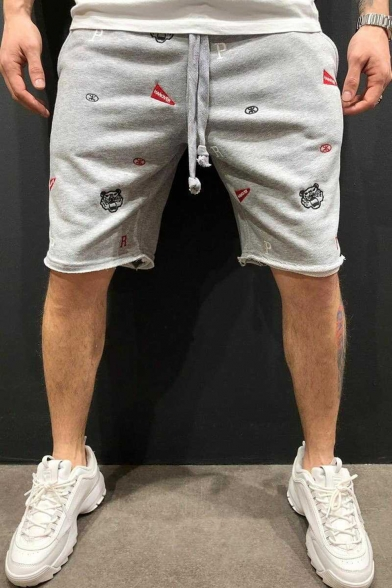 Summer Stylish All Over Embroidery Pattern Drawstring Waist Cutoff Style Casual Cotton Sweat Shorts for Men