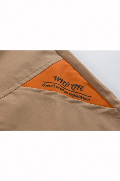 Summer Trendy Contrast Letter Detail Flap Pocket Front Drawstring Waist Casual Cargo Shorts