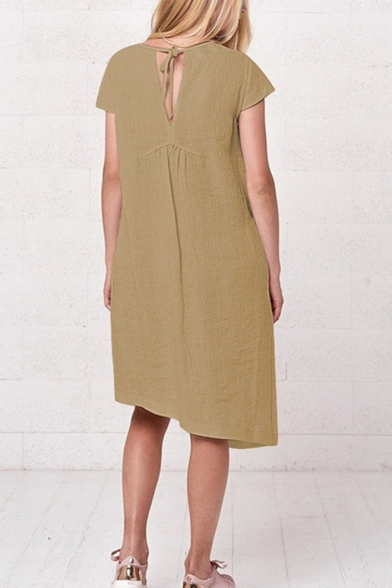 Summer Womens Basic Simple Plain Round Neck Short Sleeve Midi Linen Asymmetrical Dress