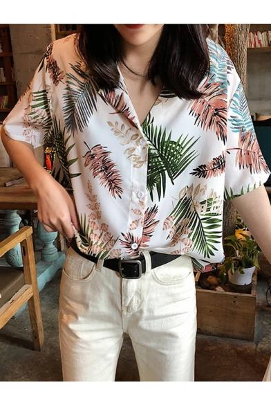 Summer Womens Vintage Tropical Leaf Printed Lapel Collar Short Sleeve Button Down Holiday Hawaiian Shirt