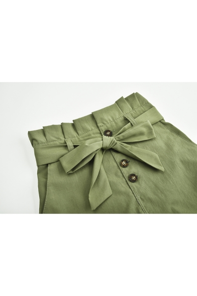 Trendy Simple Plain Bow-Tied Waist Button-Fly Paperbag Shorts