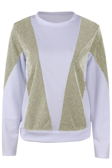 Trendy Two-Tone Colorblock Round Neck Long Sleeve Pullover Casual Sweatshirt