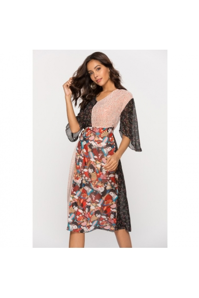 Womens Ethnic Style Floral Patchwork V-Neck Midi Chiffon Dress