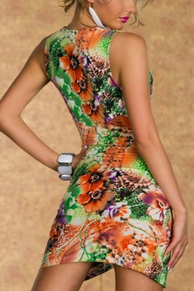 Womens Fancy Floral Printed Wrap V-Neck Sleeveless Night Club Sexy Mini Bodycon Dress