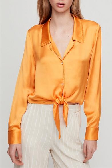 Baycheer / Womens Fancy Orange Simple Plain Notched Lapel Collar Long Sleeve Tied Hem Button Shirt