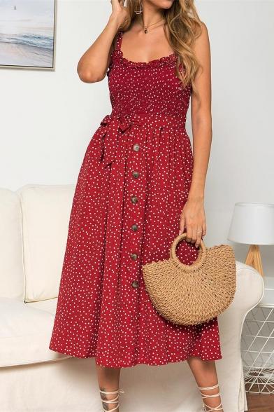Womens Fashion Polka Dot Pattern Bow-Tied Waist Button Down Midi Strap Dress