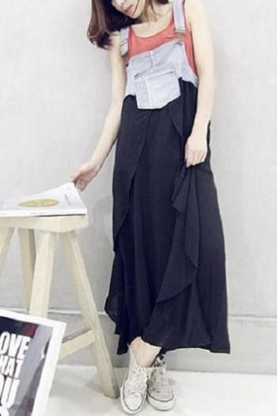 Womens New Stylish Fancy Chiffon Ruffled Maxi Overall Denim Dress