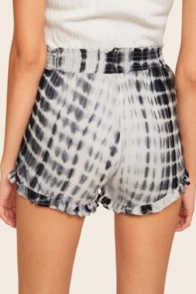 Womens New Trendy Drawstring Waist Tie Dye Ruffled Hem Loose Fit Pull On Shorts