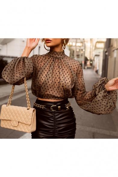 Womens Sexy Sheer Mesh Black Polka Dot Print Lantern Long Sleeve Crop Chiffon Blouse