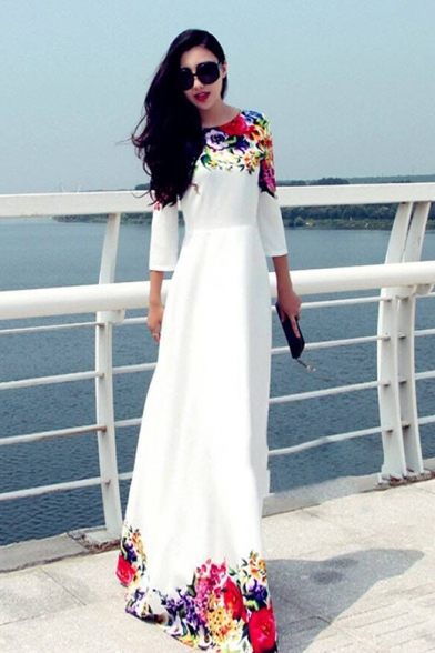 Womens Summer Fancy Floral Printed Round Neck Three-Quarter Sleeve White Maxi Swing Dress