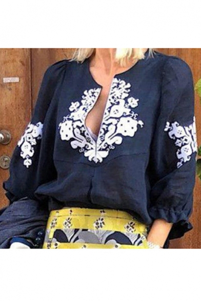 Womens Vintage Floral Embroidery V-Neck Three-Quarter Sleeve Casual Loose Blouse Top