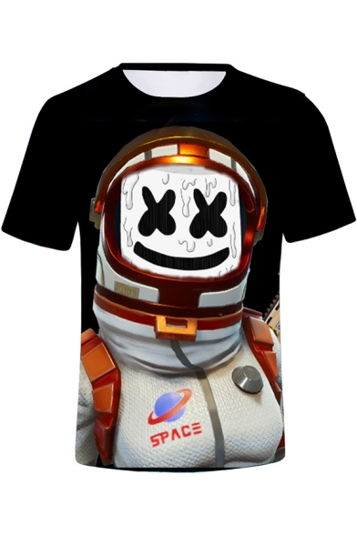 Cool Funny Smile Face Astronaut 3D Printed Round Neck Short Sleeve Black Tee