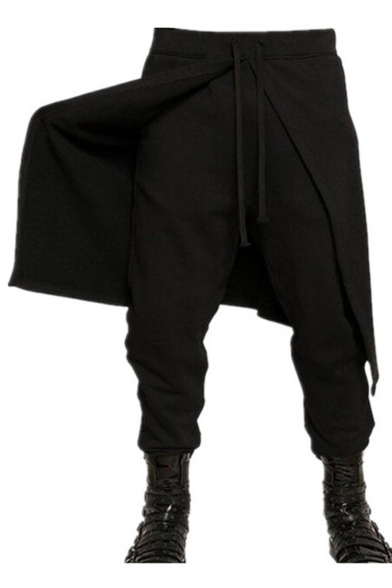 Designer Fashion Plain Patched Drawstring Waist Drop-Crotch Black Joggers Harem Pants