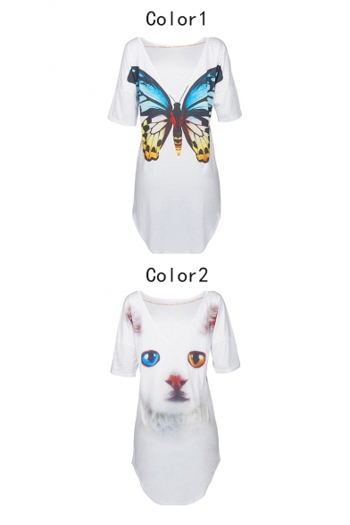 Fashion Cat Butterfly Print V-Back Short Sleeve Casual Loose White Mini T-Shirt Dress
