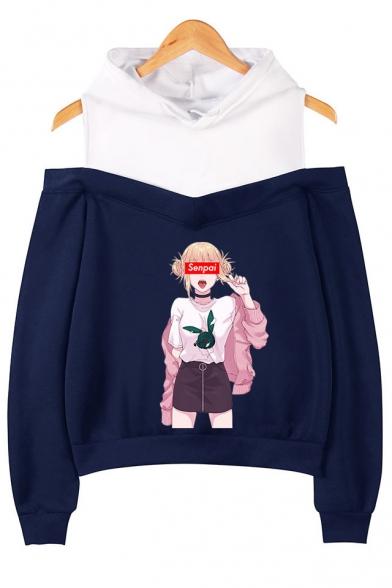 Fashion Senpai Comic Anime Girl Printed Cold Shoulder Long Sleeve Loose Pullover Hoodie