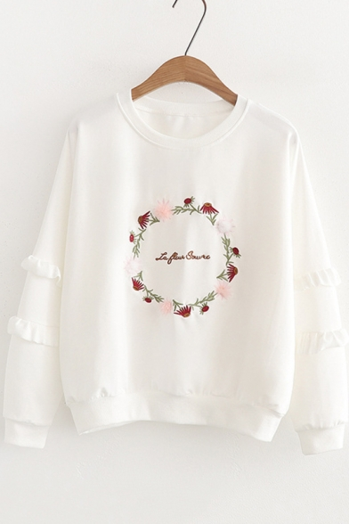 Girls Garland Floral Embroidery Round Neck Ruffled Long Sleeve Pullover Sweatshirt