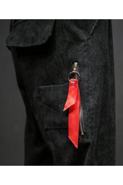 Guys New Fashion Ribbon Embellished Simple Plain Drawstring Waist Corduroy Tapered Pants