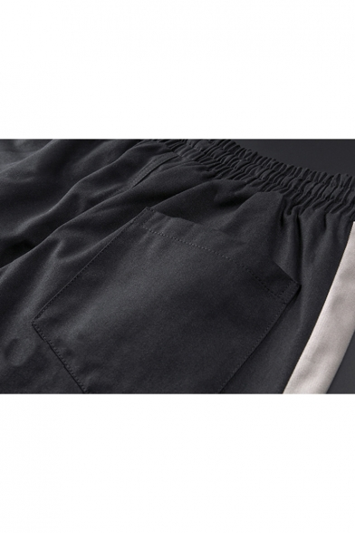 Guys Trendy Colorblock Letter Printed Drawstring Waist Elastic Casual Cotton Tapered Pants