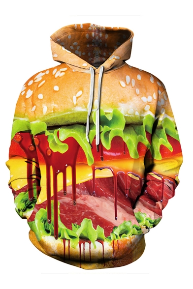 Halloween Fashion 3D Blood Hamburger Pattern Long Sleeve Unisex Pullover Hoodie