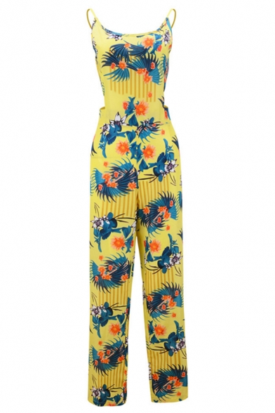 Hot Stylish Yellow Spaghetti Straps Sleeveless Floral Printed Tie-Back Holiday Jumpsuit for Girls