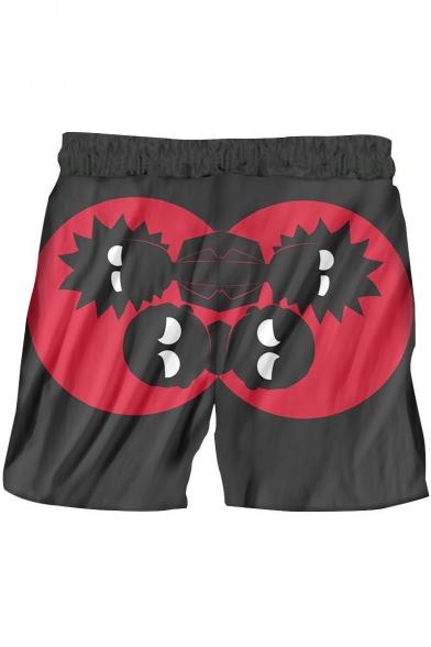 Hot Trendy 3D Print Black Drawstring Beach Short Swim Trunks for Guys