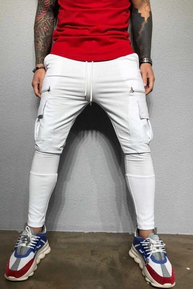 Men's Fashion Simple Plain Flap Pocket Zipper Embellishment Drawstring Waist Muscle Fitness Cotton Black Pencil Pants