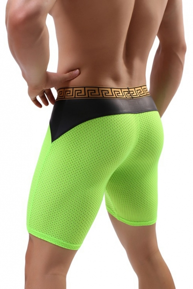 Men's New Fashion Colorblock Mesh Patch Letter Print Breathable Skinny Cycling Shorts