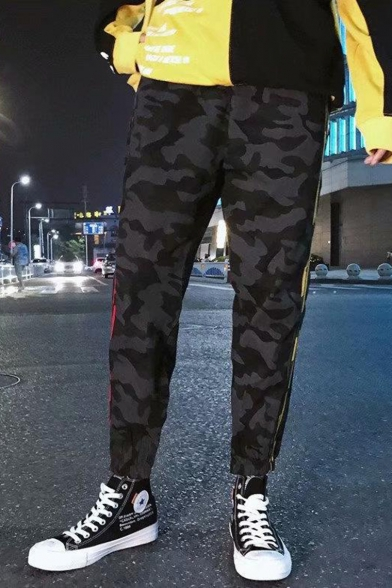 Men's Popular Fashion Camouflage Printed Contrast Stripe Side Black Casual Relaxed Track Pants