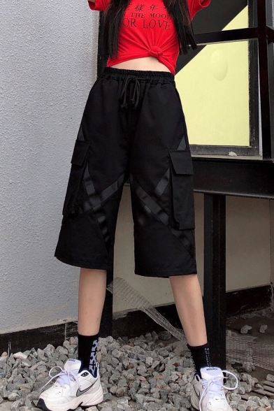 Men's Street Style Stylish Cross Tape Patched Flap Pocket Loose Fit Casual Cargo Shorts