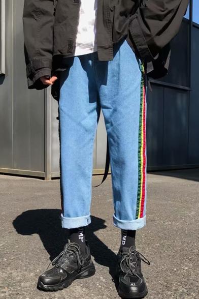 Men's Stylish Colorblock Stripe Side Rolled Cuffs Straight Wide Leg Jeans