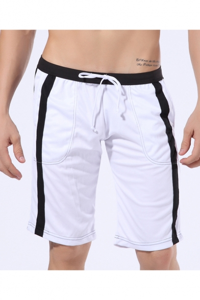Men's Summer Fashion Colorblock Drawstring Waist Casual Comfortable Sweat Shorts