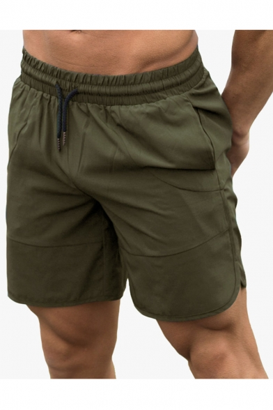 Men's Summer Fashion Drawstring Waist Simple Plain Sports Training Shorts