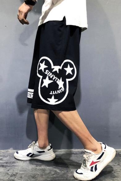 Men's Summer Stylish Cartoon Stars Letter Printed Loose Fit Black Cotton Sweat Shorts