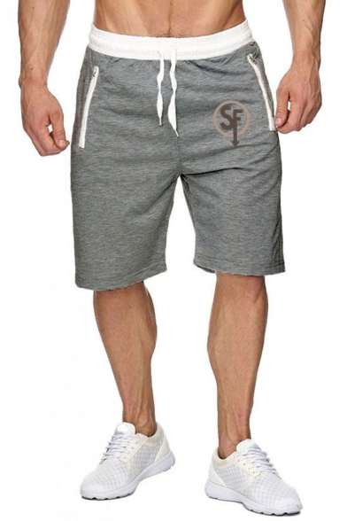 Men's Summer Stylish Letter SF Logo Printed Zipped Pocket Drawstring Waist Sports Sweat Shorts
