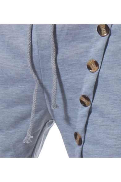 Men's Summer Stylish Solid Color Button Embellished Drawstring Waist Casual Sweat Shorts