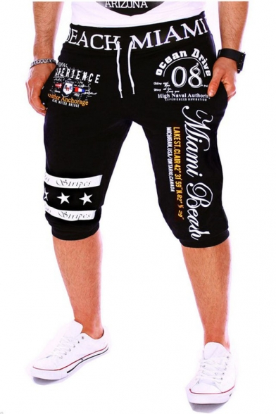 Men's Summer Trendy Letter 08 Stars Printed Drawstring Waist Casual Sports Sweat Shorts