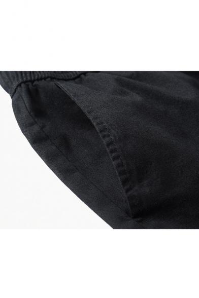 Men's Summer Trendy Letter Cartoon Printed Drawstring Waist Casual Cotton Cargo Shorts