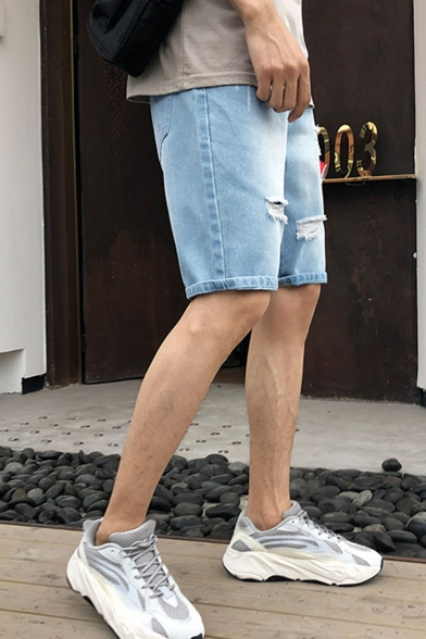 Men's Summer Trendy Simple Plain Light Blue Washed Casual Ripped Denim Shorts