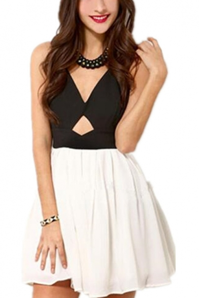 Sexy Cutout Front V-Neck Bow-Tied Back Sleeveless Black and White Mini A-Line Dress