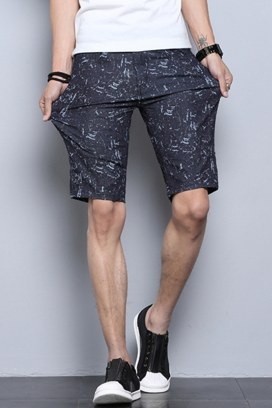Summer Fashion All-over Printed Straight Fit Casual Chino Shorts for Men