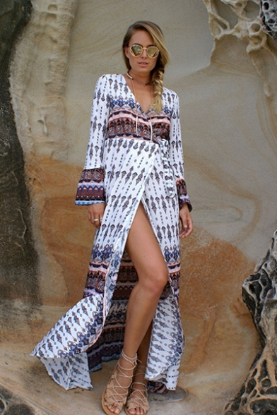 Summer Hot Fashion Tribal Printed Surplice V-Neck Long Sleeve Maxi Beach Wrap Dress