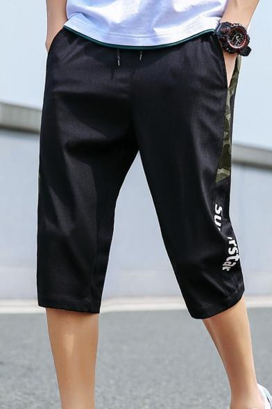 Summer Trendy Letter SUPERSTAR Camouflage Patched Side Drawstring Waist Sport Shorts