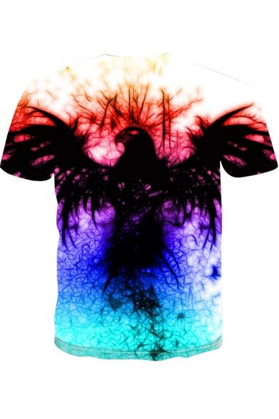 Summer Unique Colorful Painting Eagle 3D Print Short Sleeve T-Shirt