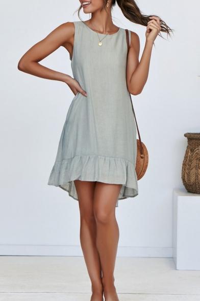 Sweet Simple Plain Round Neck Sleeveless Mini Ruffled Tank Dress