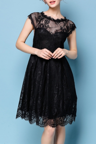 Womens Chic Fashion Round Neck Cap Sleeve Black Midi Lace Party Dress