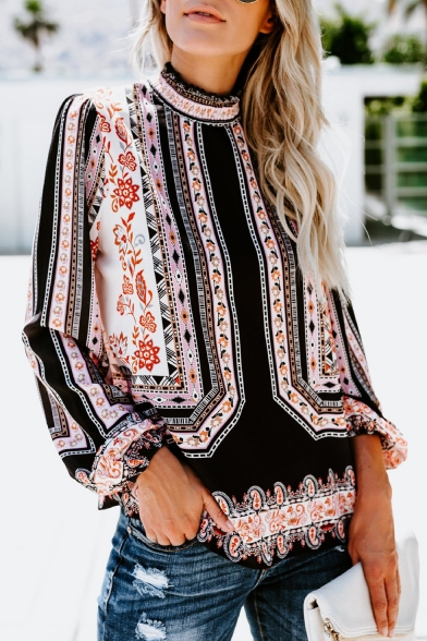 Womens Fashion Tribal Print High Neck Long Sleeve Loose Chiffon Blouse Top