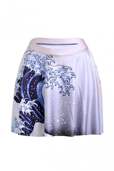 Womens Hot Popular White Wave Print High Elastic Waist Pleated Mini Skater Skirt