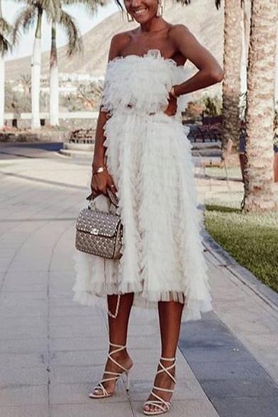 Womens New Trendy Designer Unique Strapless White Midi Layered Bandeau Dress
